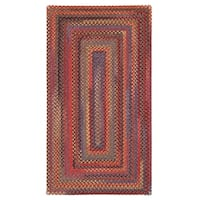 "Capel Rugs Songbird Red Concentric Rectangle Braided Rugs - 2'3"" x 9'"