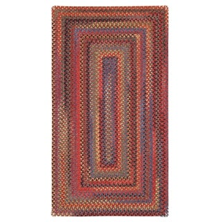 """Capel Rugs Songbird Red Concentric Rectangle Braided Rugs (2'3"""" x 9')"""