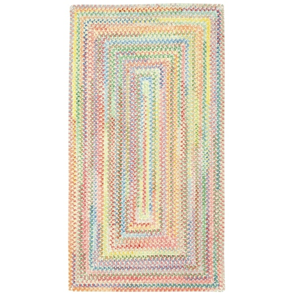 Capel Rugs Cutting Garden Natural Concentric Rectangle Braided Rugs (2' x 3')