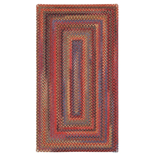 "Capel Rugs Songbird Red Concentric Rectangle Braided Rugs (2'3"" x 4')"