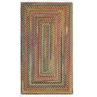"""Capel Rugs Songbird Gold Concentric Rectangle Braided Rugs - 2'3"""" x 9'"""