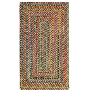 "Capel Rugs Songbird Gold Concentric Rectangle Braided Rugs (2'3"" x 9')"