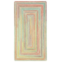 "Capel Rugs Cutting Garden Light Parakeet Concentric Rectangle Braided Rugs - 2'3"" x 4'"