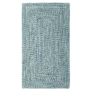 """Capel Rugs Sea Glass Blue Concentric Rectangle Outdoor Braided Rugs (2'3"""" x 9')"""