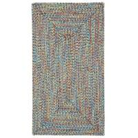 "Capel Rugs Sea Glass Bright Multi Concentric Rectangle Outdoor Braided Rugs - 2'3"" x 9'"