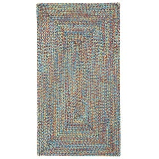 "Capel Rugs Sea Glass Bright Multi Concentric Rectangle Outdoor Braided Rugs (2'3"" x 9')"