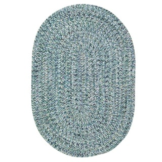 Capel Rugs Sea Glass Blue Oval Outdoor Braided Rugs (2' x 8')
