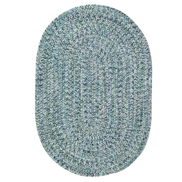Capel Rugs Sea Glass Blue Oval Outdoor Braided Rug (2'3 x 9')