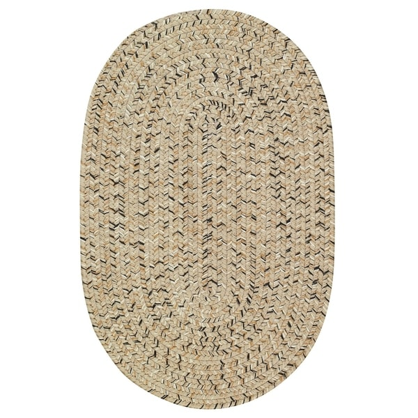 Capel Rugs Sea Glass Shell Beige/Pink Oval Outdoor Braided Rug (2'3 x 9')