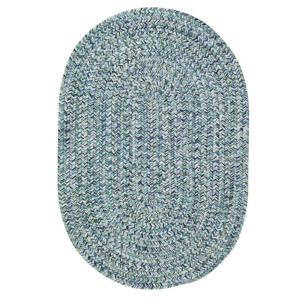 Capel Rugs Sea Glass Blue Oval Outdoor Braided Rugs