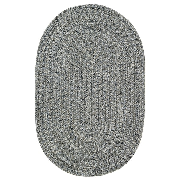 Capel Rugs Sea Glass Smoke Grey Oval Reversible Indoor/Outdoor Braided Area Rug - 2'3 x 9'