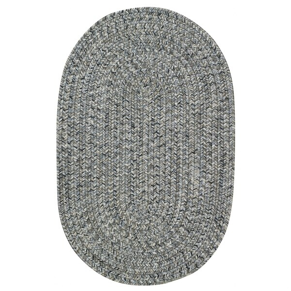Capel Rugs Sea Glass Smoke Grey Oval Reversible Indoor/Outdoor Braided Area Rug (2'3 x 9')