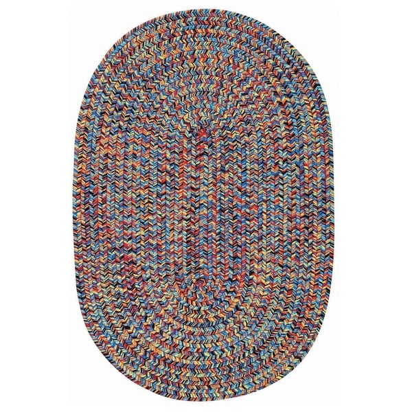 Capel Rugs Sea Glass Bright Teal/Multicolor Oval Outdoor Braided Rug