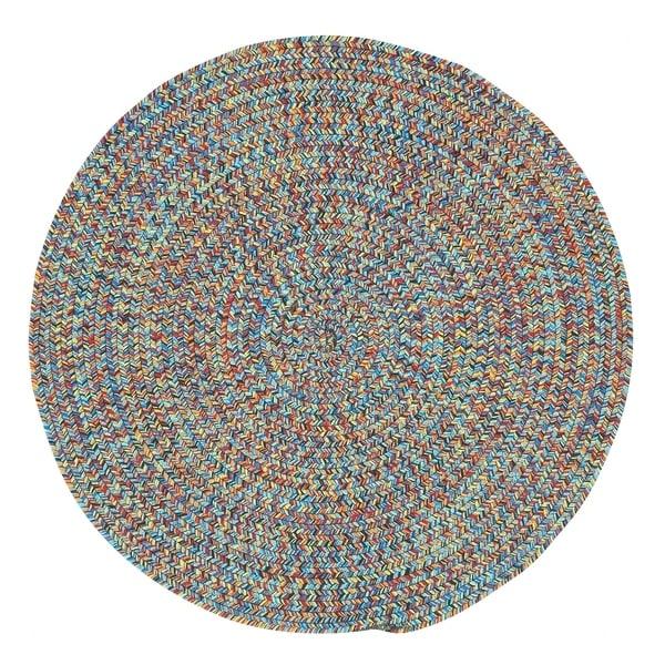 Capel Rugs Sea Glass Bright Multicolor Round Outdoor Braided Area Rug - 7'6 Round