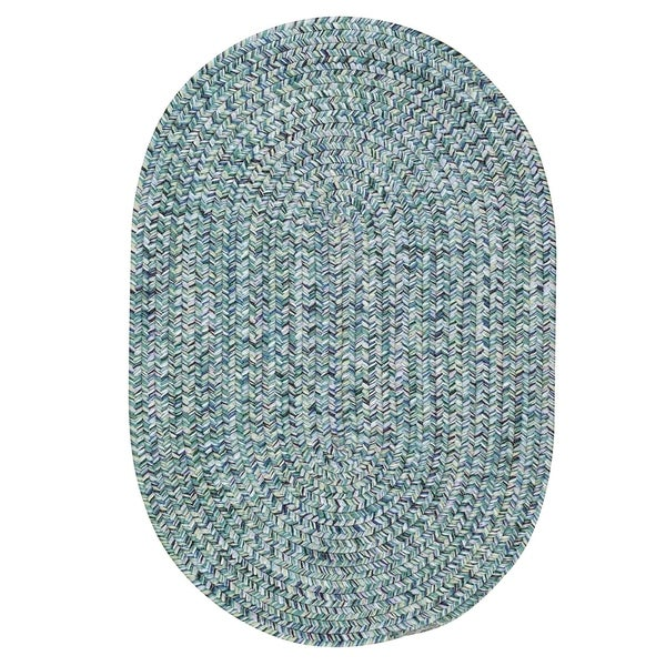 Capel Rugs Sea Glass Blue Oval Outdoor Braided Rugs - 7' x 9'