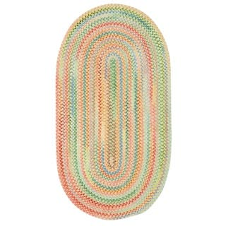 Capel Rugs Cutting Garden Light Yellow Oval Braided Rug 7 X