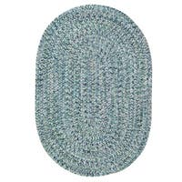 Capel Rugs Sea Glass Blue Oval Outdoor Braided Rug - 8' x 11'