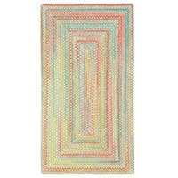 """Capel Rugs Cutting Garden Light Parakeet Concentric Rectangle Braided Rugs (5'6"""" x 5'6"""")"""