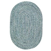 Capel Rugs Sea Glass Blue Outdoor Oval Braided Rug (5' x 8')