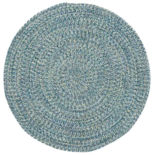 Capel Rugs Sea Glass Blue Round Outdoor Braided Rug (5'6)