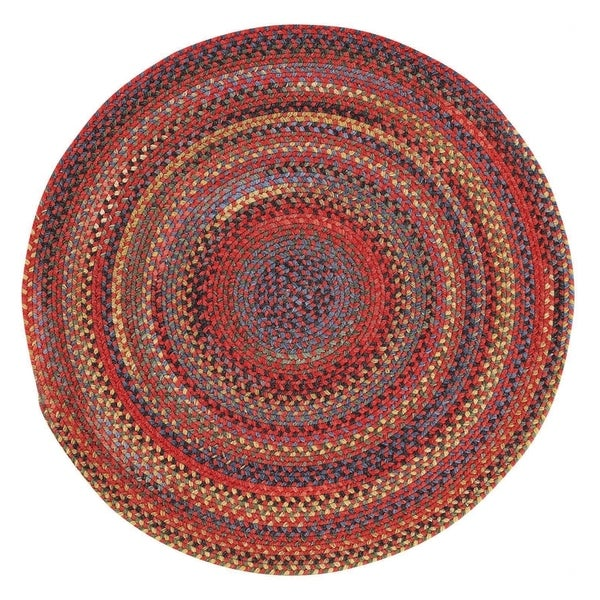 Capel Rugs Songbird Red Round Braided Area Rug (5'6 x 5'6)