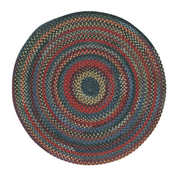 Capel Rugs Songbird Blue Round Braided Area Rug - 9'6 x 9'6