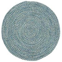 Capel Rugs Sea Glass Blue Round Outdoor Braided Rugs - 3'