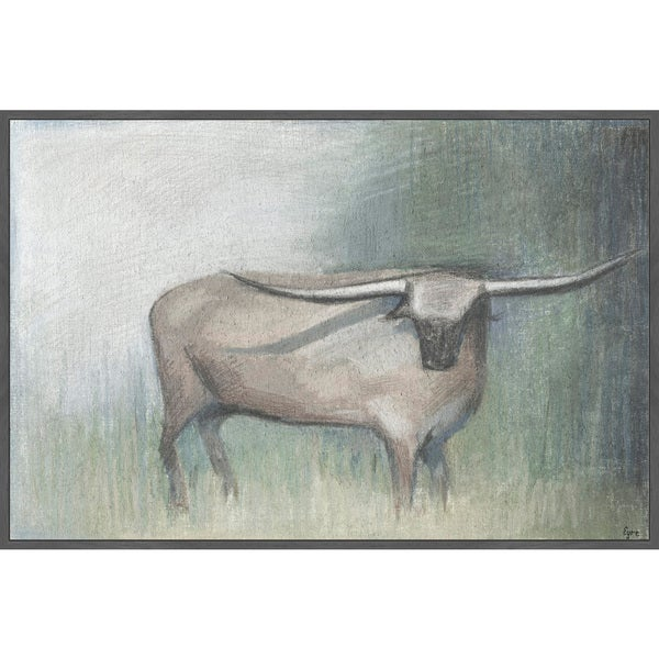 Marmont Hill - Handmade Longhorn Gray Floater Framed Print on Canvas