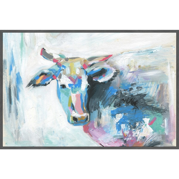 Marmont Hill - Handmade Pastel Cow Floater Framed Print on Canvas