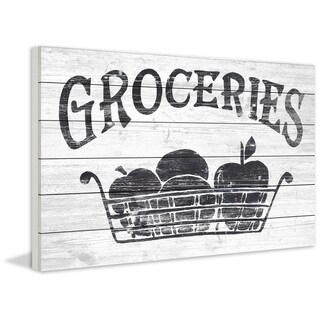 Marmont Hill - Handmade Groceries Here Painting Print on White Wood