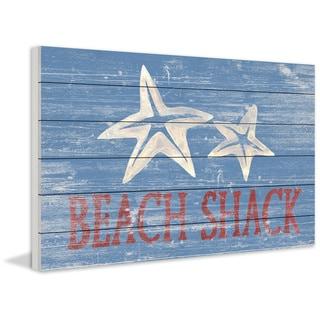 Marmont Hill - Handmade Star Fish Shack Painting Print on White Wood