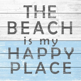 Marmont Hill - Handmade Beach Is My Place Painting Print on White Wood