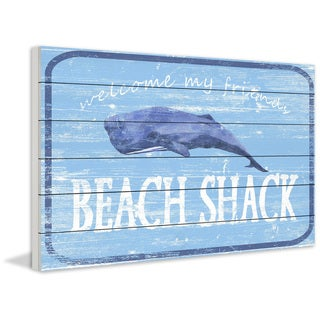 Marmont Hill - Handmade Shack at the Beach Painting Print on White Wood