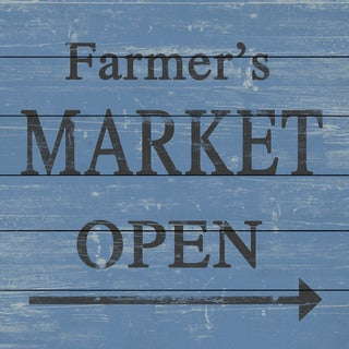 Marmont Hill - Handmade Farmers Market Open II Painting Print on White Wood