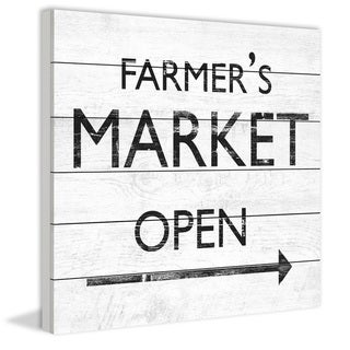 Marmont Hill - Handmade Farmers Market Open III Painting Print on White Wood