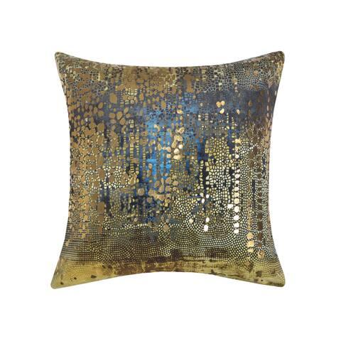 Edie At Home Precious Metals Digital Printed Velvet Pillow Gold/Metalalic 20x20 Inch
