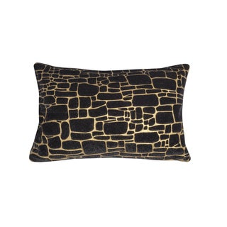 Edie At Home Precious Metals Digital Printed Faux Fur Pillow Black/Gold 12x20 Inch