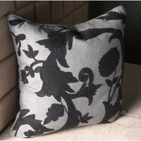 Edie at Home Decorative Throw Pillow Textured Floral Crewl Embroidery 18x18 Inch