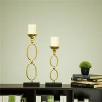 Glitzhome Annulus Metal Candle Holders Set of two