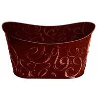 Wald Imports Burgundy Metal Double Decorative Beverage Tub Planter