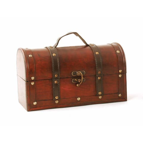 Wald Imports Brown Wood Decorative Storage Trunk Chest