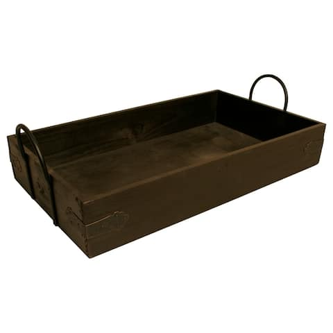 Wald Imports Brown Wood Decorative Tray