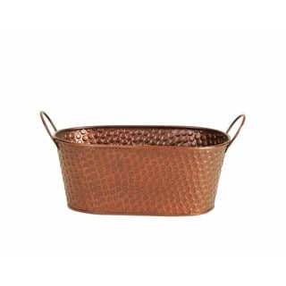 Wald Imports Copper Hammered Metal Double Beverage Bucket Pail Tub