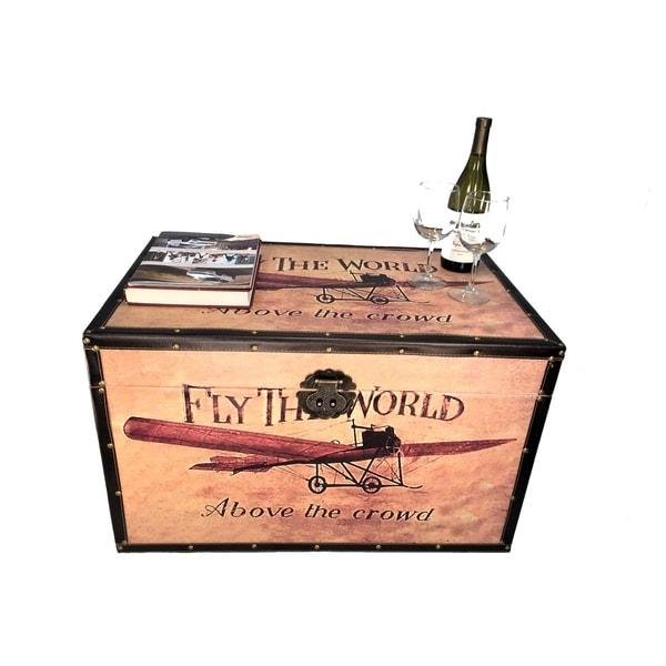 Airplane Medium Wood Storage Trunk Wooden Treasure Chest Toy Box