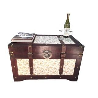 Savannh Large Wood Storage Trunk Wooden Treasure Chest Gold