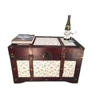 Savannh Wood Storage Trunk Wooden Treasure Chest Set of 2 Red