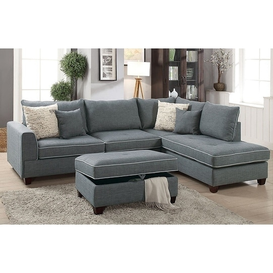 Kosava 3 Piece Sectional Sofa Set Upholstered in Dorris Fabric |  Overstock.com Shopping - The Best Deals on Sectional Sofas