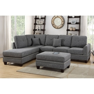 Stolin 3 Piece Sectional Sofa Set Upholstered in Polyfiber