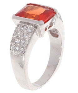Icz Stonez Sterling Silver White and Orange Created Sapphire Ring - Thumbnail 1