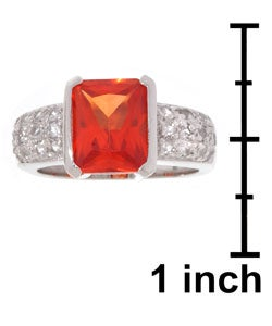 Icz Stonez Sterling Silver White and Orange Created Sapphire Ring - Thumbnail 2